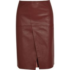 Joseph Saar wrap-effect leather skirt (3,545 ILS) ❤ liked on Polyvore featuring skirts, brick, wrap around skirt, red knee length skirt, wrap skirt, red skirt and red wrap skirt