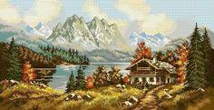 . Cross Stitching, Crochet, Wool, Canvas, Painting, Punto De Cruz, Scenery, Dots, Art