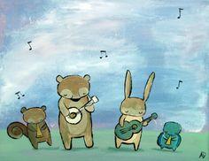 Kids Wall Art, Musical Nursery Art Print, Woodland Animal Nursery Decor, Children's Art