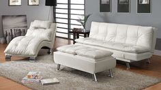 Dilleston White Leatherette Living Room Set
