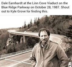 Dale Earnhardt on the Linn Cove Viaduct of the Blue Ridge Parkway Nascar Sprint Cup, Nascar Racing, Auto Racing, The Intimidator, Matt Kenseth, Kyle Larson, Blue Ridge Parkway, Dale Earnhardt Jr, Grand National