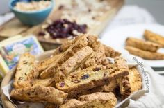 Homemade savory and sweet biscotti recipe. Monterey Jack cheese, candied hazelnuts, sweet cherries in a crispy Italian biscotti. Mama Recipe, Biscotti Recipe, Monterey Jack Cheese, Sweet Cherries, Southern Recipes, Cheese Recipes, Us Foods, Banana Bread, Deserts