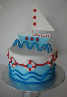 Baby Shower cake for my son's teacher.  Sailboat, ocean theme.