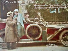Antique couple postcard  Car automobile auto chauffeur