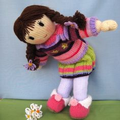 Posy Doll knitting pattern knitted doll Pdf INSTANT by dollytime