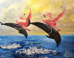 Pink Flamers by J.K. McGreens Flamingos on Dolphins Canvas Art Print – moodswingsonthenet