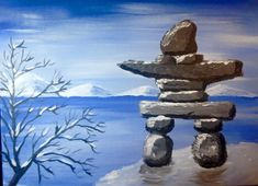 Paint this awesome Inukshuk on March at PEI Brewing Co. Easy Canvas Painting, Diy Painting, Painting On Wood, Canvas Art, Rock Painting, Canvas Paintings, Painting Tutorials, Monuments, Art After Dark