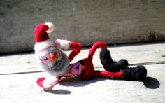 Felted Santa Naughty Needle felted Santa Claus or Santas helper quirky