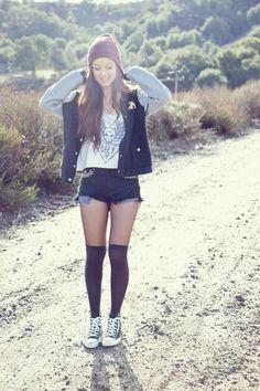 girl.socks.jacket.shirt.shorts.style