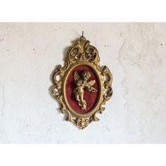 Vintage Französisch Wand Bild / Weihnachtsengel Cherub und Gold... ($24) ❤ liked on Polyvore featuring jewelry, gold home accessories, gold home decor and valentine home decor