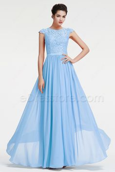 The ice blue prom dress features O neckline, the top is made of lace fabric, cap sleeves and high back form the modest and elegant look, Chiffon A Line skirt finishing with floor length.