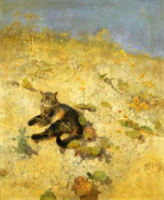 Cat Basking in the Sun Bruno Liljefors Private Collection wildlife paintings