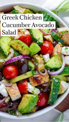 Best Salad Recipes, Cucumber Recipes, Vegetarian Recipes, Cooking Recipes, Healthy Recipes, Cucumber Avocado Salad, Sausage Recipes, Lunch Salad Recipes, Delicious Salad Recipes