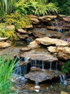 47 Diy Garden Pond Waterfall Ideas - Home/Decor/Diy/Design Backyard Plants, Ponds Backyard, Backyard Ideas, Garden Ponds, Pond Landscaping, Landscaping With Rocks, Waterfall Landscaping, Pond Waterfall, Small Waterfall