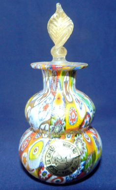 VINTAGE MURANO ART GLASS MILLEFIORI PERFUME BOTTLE WITH GOLD FLECK STOPPER ITALY