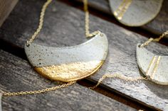 22k Gold Dipped Half Wave  Luster minimalist by PorcelainAndStone, $140.00