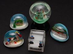 5 Vintage Snow Globes Souvenir Snowdome Lot Montreal Austria Germany