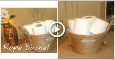 This chic DIY rope basket can easily be put together with a hot glue gun and a rope! Check out the t Dollar Tree Organization, Bathroom Organization, Dollar Tree Baskets, Diy Storage Organiser, Tree Rope, Dollar Store Bins, Dollar Stores, Rope Basket, Diy Bathroom Decor