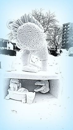 """Big Bird Snow Sculpture"" by Kay Novy   http://kay-novy.artistwebsites.com/featured/big-bird-snow-sculpture-kay-novy.html"