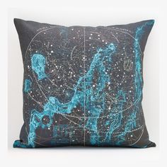 vintage SUMMER CONSTELLATION over the Bay map pillow DIY kit, made to order 16x16 envelope style. $35.00, via Etsy.