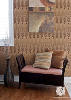 Neutral Wall Decor using African Plumes Tribal Pattern Stencil for Wall Paint Projects - Royal Design Studio Stencils