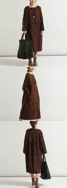 Women casual loose fitting plus size wool dress,made of wool.sooo Bohemian feel.What do you think of it? buykud.com