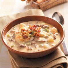Cheeseburger Paradise Soup Recipe -I've never met a person who didn't enjoy this creamy soup, and it's hearty enough to serve as a main course with your favorite bread or rolls. —Nadina Iadimarco, Burton, Ohio
