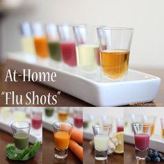 At Home Flu Shots... Lemon Ginger Drop, Apple Cider Slammer, Green Machine, Cod Liver Kiss, Blueberry Blast, Carrot Kicker