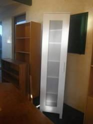 white bedroom cupboard with door and 7 shelves - as new.  Remove description