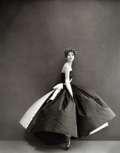 Suzy Parker in a gown by fashion house of Grès, Haute Couture. Photographed by Richard Avedon, 1956.
