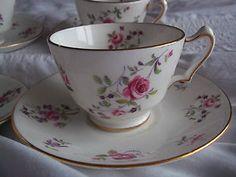Crown Staffordshire Vintage Bone China Tea Cup and Saucer Pink rose Floral   eBay