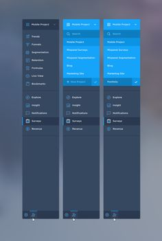 Mixpanel navigation | Liora's Notes: * Note the project switcher at the top * Good style for a lot of navigation elements