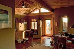 Strawbale houses have great insulation and are naturally inclined to have deep window seats and lots of little nooks.