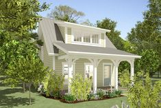 Plan Cottage House Plan with Front and Back Outdoor Living Space Enjoy the tiny hou Small Cottage House Plans, Small Cottage Homes, Small Cottages, Cottage Plan, Small House Plans, House Floor Plans, Cottage Style, 1 Bedroom House Plans, Tiny Homes