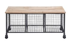 Industrial-style storage bench with 3 wire baskets, a wooden seat, and casters. Product: Storage benchConstruction Material: Wood and metalColor: Black and naturalFeatures: High-quality castersThree baskets Dimensions: H x W x D Black Storage Bench, Storage Bench With Baskets, Entryway Bench Storage, Wire Baskets, Shoe Storage, Bin Storage, Furniture Storage, Furniture Decor, Bench Mudroom