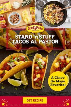 Mexican Cookbook, Mexican Food Recipes, Ethnic Recipes, Pool Snacks, Taquitos Al Pastor, Chunky Salsa, Taco Shells, Pork Tacos, Lime Wedge