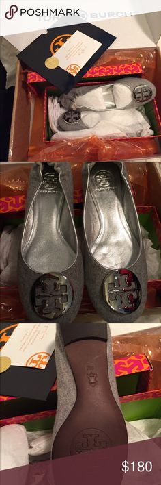 Authentic Tory Burch Revas Never Worn!! Light Grey/Silver Flannel...very hard to find!! Gorgeous, but unfortunately not my size! Love these! Tory Burch Shoes Flats & Loafers