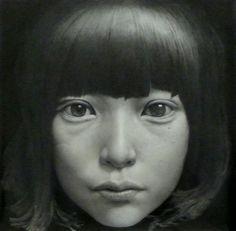 """Taisuke Mohri, """"Girl"""", pencil on paper, 60×60cm, 2009. More info on www.frantic.jp."""