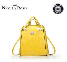 NicoleDoris 2016 New trend backpack shoulder bag ladieswomen dualuse college wind fashion travel bagYellow ** Click on the image for additional details.