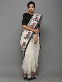 Black Off White Hand Painted Madhubani Cotton Saree Set Saree, Saree Dress, Lehenga Blouse, Handloom Saree, Silk Sarees, Indian Dresses, Indian Outfits, Hand Painted Sarees, Indian Sarees