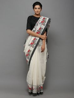 Black Off White Hand Painted Madhubani Cotton Saree