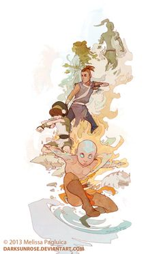 Aang and the group - tribute by *DarkSunRose  Fanart piece created for the upcoming convention, AOD, in San Francisco.