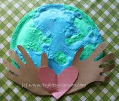 earth craft, great for preschool projects. earth: 2 paper plates glued together, salt dough and then paint, final step: cut out 2 hands and a heart and glue it on the dried and painted earth