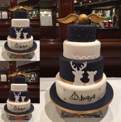 """Wedding Themes These Harry Potter wedding cakes are going to make you want to say """"I do"""" - Pastel Harry Potter, Bolo Harry Potter, Harry Potter Wedding Cakes, Gateau Harry Potter, Harry Potter Birthday Cake, Harry Potter Food, Lily Potter, Beautiful Cakes, Amazing Cakes"""