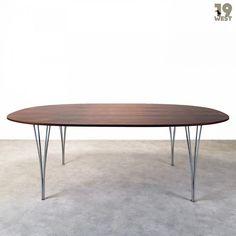 Super Elliptical dining table by Piet Hein & Arne Jacobsen for Fritz Hansen, 1960s
