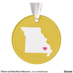 Yellow and Pink Heart Missouri Home State