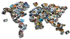 """I love this world-map photo collage from gogalavanting.com An online travel magazine for women """"without trust funds,"""" among other things.  I like! World Map Photo, Trust Fund, Online Travel, Travel Magazines, My World, Collage, My Love, Women, Collages"""
