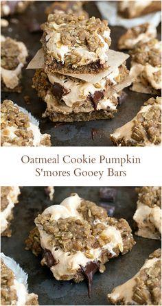 Oatmeal Cookie Pumpkin S'mores Gooey Bars I via chelseasmessyapron.com I: