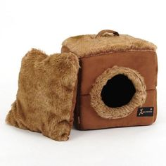 Cat Suede Cube/Yurt Tent Bed Soft Kitty House Sleeping Bag