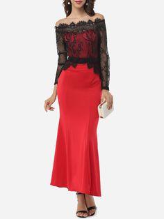 Off Shoulder Dacron Lace Patchwork Evening-dress
